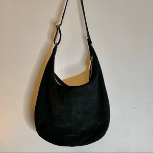 Halston Black Suede Slouch Hobo Shoulder Bag